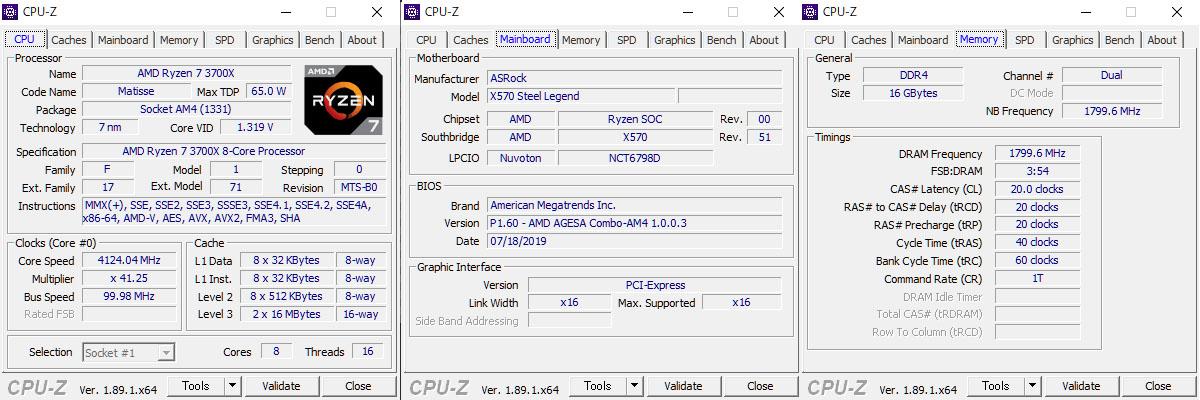 CPU-Zの表示